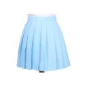 Popular Plain Mini A-line Pleated Skirt Uniform