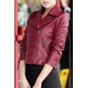 Women's Notched Lapel Plain Zipper Placket Faux Leather Jacket with Zip Pockets and Cuffs