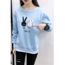 Lovely Cartoon Rabbit Letter Printed Pullover Sweatshirt