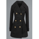 Classic Double Breasted Lapel Collar Women's Winter Plain Coat