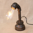 Vintage Rustic Iron Pipe Decorative Table Light in Antique Bronze