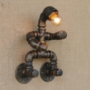 Industrial Fun Lighting Iron Pipe Feature 1-Lt Wall Sconces 8.27