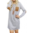 Women's Round Neck Long Sleeve Elbow Patch T-Shirt Dress
