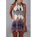 Women's Sleeveless Vintage Printed Ethnic Style Casual Dress