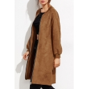 Women's Fashion Zip Placket Long Sleeve Slit Side Suede Longline Coat