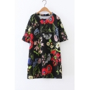 Fashion Floral Printed Color Block Round Neck Short Sleeve Mini T-Shirt Dress