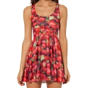 3D Strawberry Print Fresh Style A-line Tanks Dress