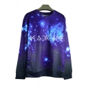 3D Galaxy Letter Printed Color Block Pullover Sweatshirt