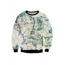 Popular Map 3D Printed Contrast Trim Pullover Sweatshirt
