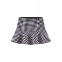 Women's Chic Houndstooth Plaid Pattern Ruffle Hem Mini Skirt
