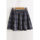 Women's Elastic Waist Vintage Plaid Print Casual Basic Pleated Mini Skirt