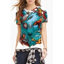 Women's Fashion Digital Wolf Print Round Neck Short Sleeve Basic T-Shirt