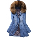 Women's Winter Fur Hooded Zip Placket Cotton Coat Denim Coat
