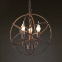 Weathered Copper 3 Light Industrial Indoor 14'' Wide Globe LED Chandelier