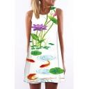 Women's Lotus Print Sleeveless Round Neck Mini Swing Dress