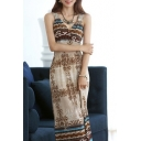 Women Summer Striped Print Beach Dress Long Casual Bohemian Color Block Dress