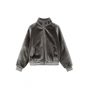 Women's Stand-Up Collar Letter Embroidery Zip Placket Long Sleeve Loose Coat