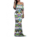 Women's Sexy Off the Shoulder Ruffle Front Color Block Maxi Dress