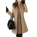 Chic Detachable Fur Lapel Double Breasted Plain Tunic Coat