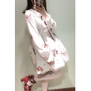 Cute Animal Cartoon Printed Long Sleeve Lace Trim Color Block A-Line Dress