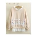 Women's Fashion Lace Patched Round Neck Long Sleeve Rabbit Print Sweatshirt
