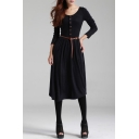 Vintage Round Neck Buttons Down Long Sleeve Knit Midi Dress with Belt
