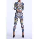 Women Jumpsuits Tribal Tattoo Printed Dumpsuit Sexy Bodysuit Playsuit