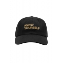 Unisex Retro KNOW YOURSELF Letter Embroidery Baseball Outdoor Cap