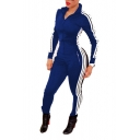 Women Long Sleeve Striped Unitard Bodysuit Jumpsuit