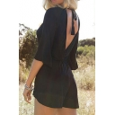 Women's Sexy Half Sleeves V-Neck Tied V-Back Short Rompers