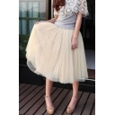 Plain Fashion Multi-Layered Mesh Midi Swing Bubble Skirt