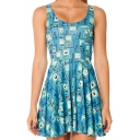 Cartoon Print Sleeveless Tank Skater Dress