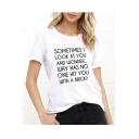 Funny Letter Printed Round Neck Short Sleeve Tee Top