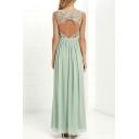 Sexy Cutout Back Round Neck Lace Insert Chiffon Plain Maxi Dress