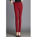 Women's Basic High Rise Solid Color Casual Skinny Pants