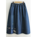 Women's Elastic Waist Cat Embroidery Denim A-Line Midi Skirt