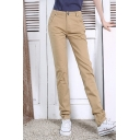 New Leisure Button Fly Closure Plain Straight Pants