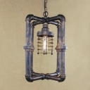Industrial 1 Light Cube Pendant in Aged Bronze Finish with Metal Frame Shade