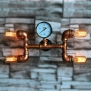 4 Light Novel Industrial Decorative Wall Light with Gauge