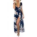 Women's Bohemian Floral Print Side Slit Long Maxi Dresses for Beach