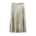 Women's Hot Fashion Gold Zip Fly Pleated Midi Skirt