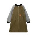 Women's Zip Placket Stand-Up Collar Color Block Casual Coat