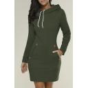 Fashion Hooded Long Sleeve Plain Mini Sweatshirt Dress
