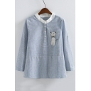 Women's Buttons Down Front Collarless Long Sleeve Striped Print Cat Embroidery Blouse