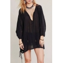 Women's Fashion V-Neck Long Sleeve Semi Sheer Black Sun Blouse