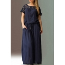 Women's Oversize Round Neck Short Sleeve Lace Patched Ribbons Belt Maxi Dress
