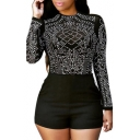Women Sexy Crewneck Long Sleeve Rhinestone Bodycon Clubwear Party Jumpsuit Rompers