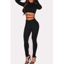 Women's Sexy Tops and Long Pants Two-piece Set Bandage Club Jumpsuits