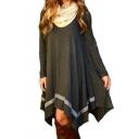Women's Cotton Knitted V Neck Long Sleeve Short Tunic Dress