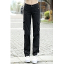 Women's Leisure Plain Sport Straight Pants with Pockets